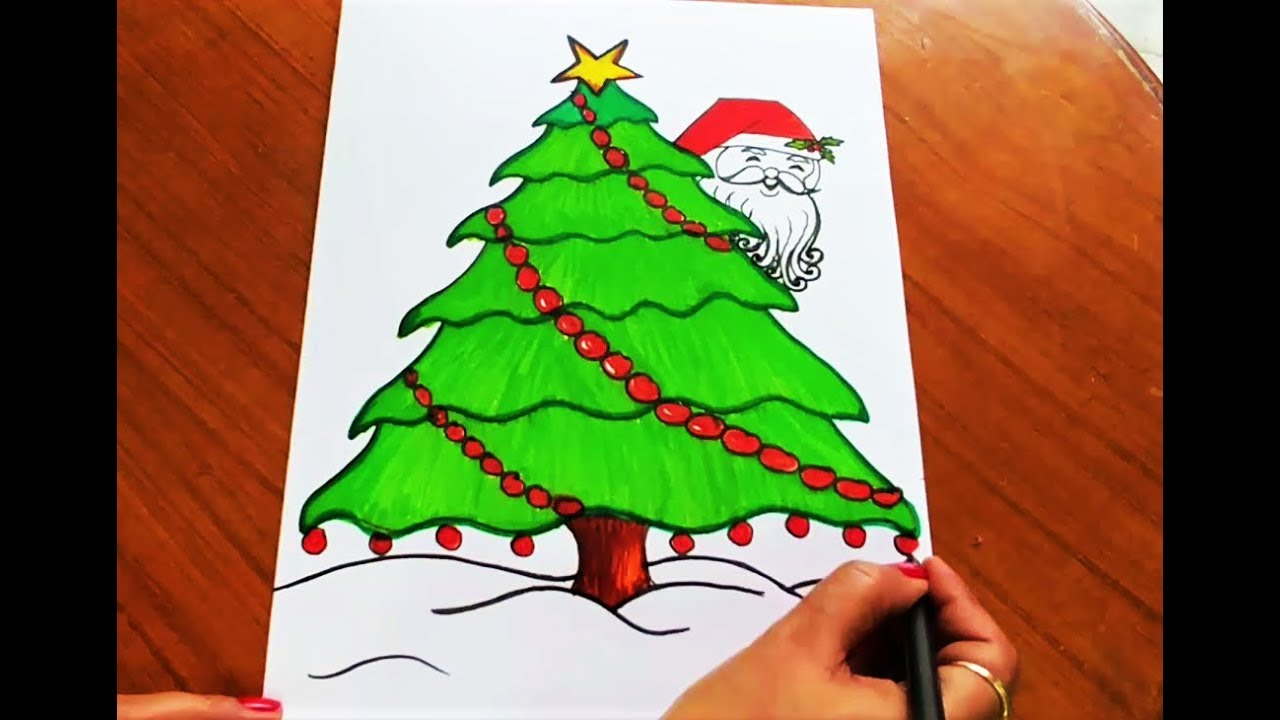 How To Draw And Color Easy Christmas Tree And Santa For Kids Youtube