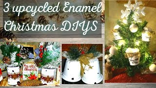 3 Dollar Tree Christmas DIYS | Upcycled Enamel Decor. | Farmhouse Ornaments | Buffalo Check & Burlap