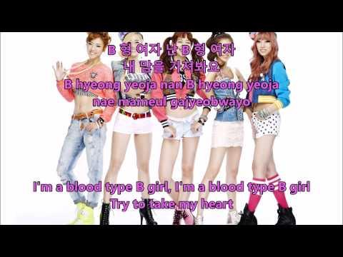 Blady - Blood Type B Girl - Hangul, Romaja and English Lyrics