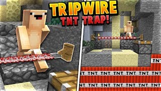 HIDDEN TNT TRIPWIRE TRAP! | Minecraft SKYWARS TROLLING (Invisible TNT Troll) w/ JustVurb
