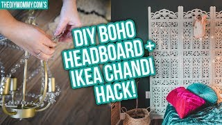 DIY Vintage Screen Headboard + Ikea Chandelier Hack!