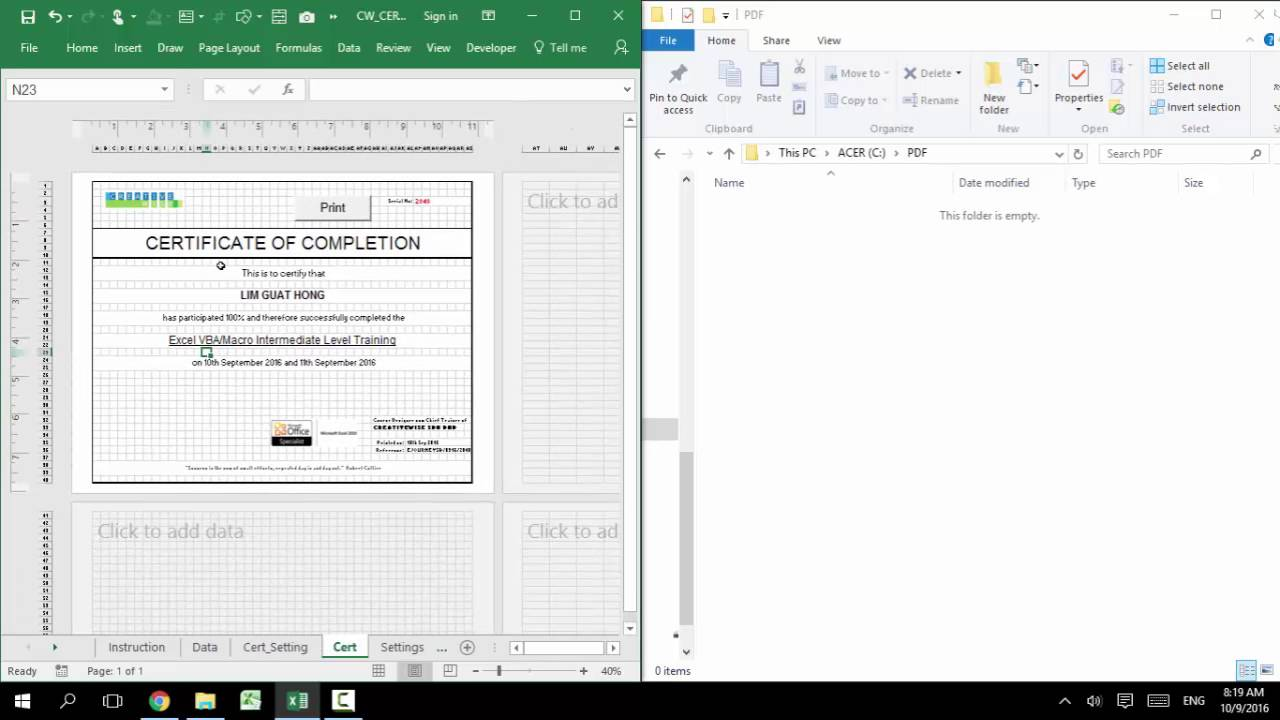 Generate List Of E Certificate Using Ms Excel Like Mail Merge Just