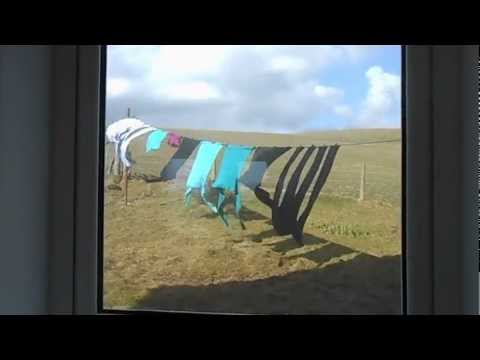 Washing line through a window, Houton, Orphir, Orkney
