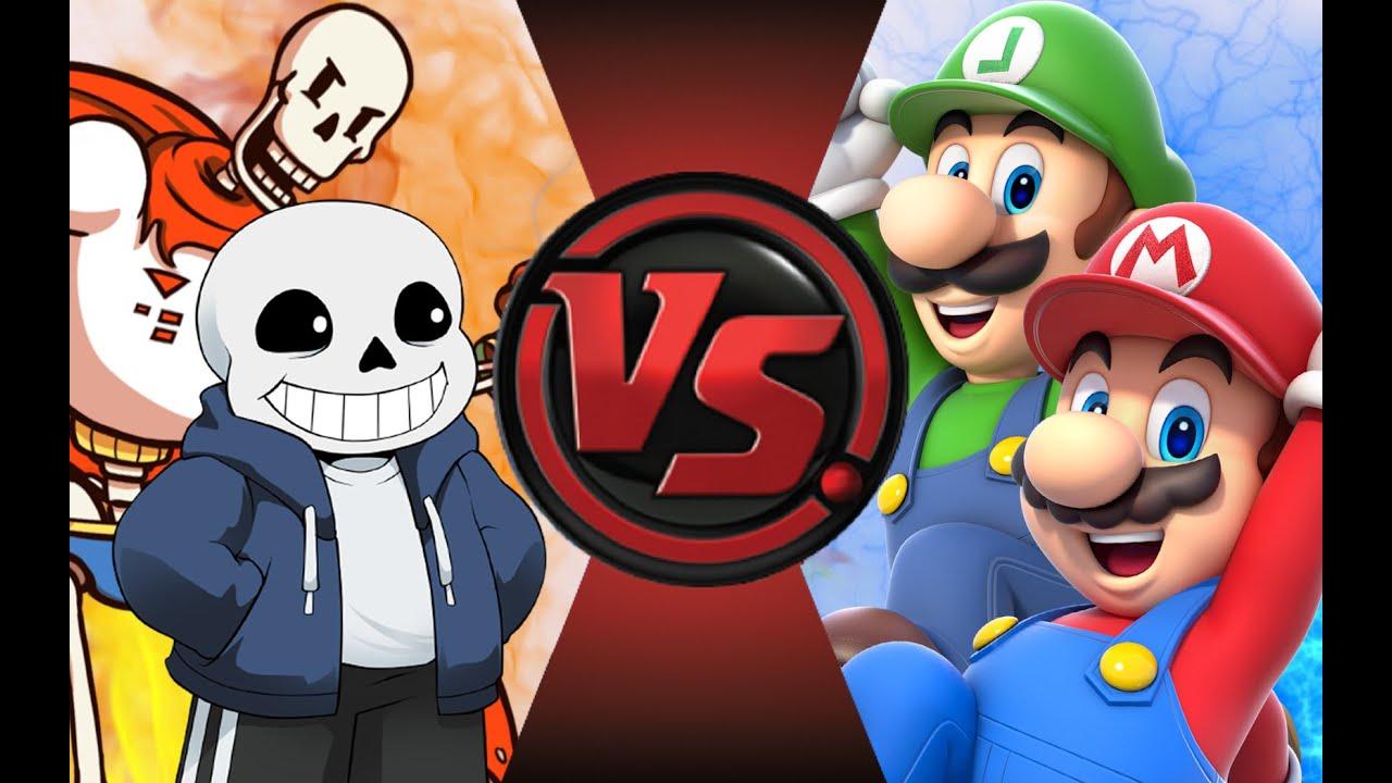 Sans And Papyrus Vs Mario And Luigi Cartoon Fight Club