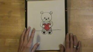 Super Easy! Draw a TEDDY BEAR holding a HEART! How sweet!