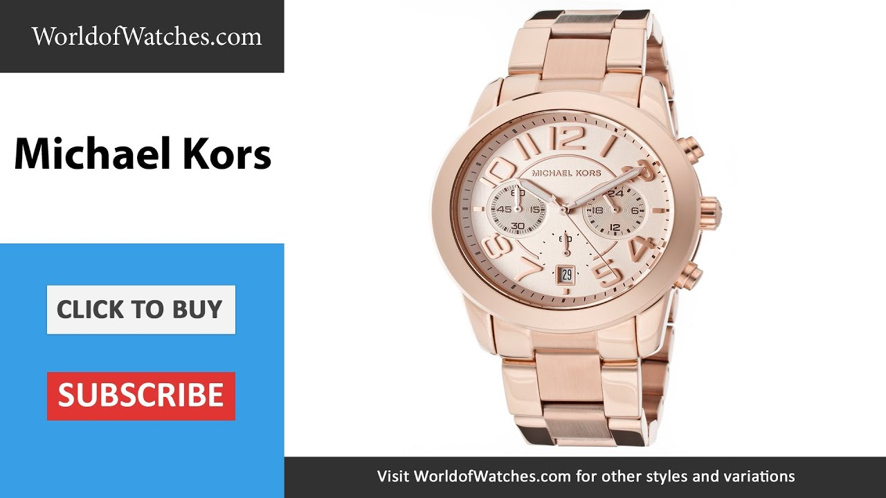 3b3a8715a721 MICHAEL KORS Mercer Chronograph Rose Gold Dial Rose Gold Tone Stainless  Steel MK5727