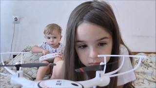 Timur and Lana did not share the quadcopter and broke it Funny video for kids