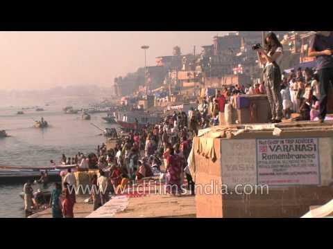 Devotees of Lord Shiva immersing in Ganga during Maha Shivratri, Varanasi