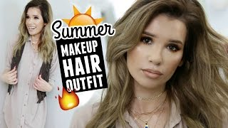 EASY SUMMER GLOWY SKIN & BRONZE EYES MAKEUP, HAIR & OUTFIT! GRWM