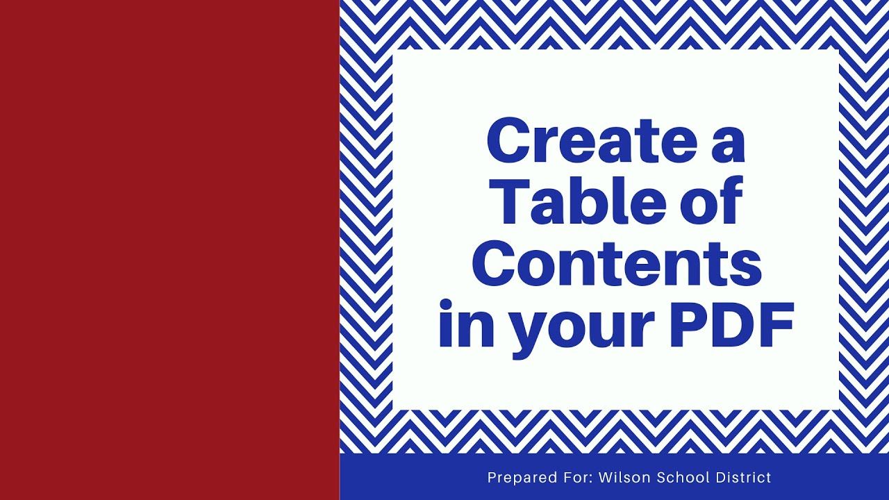 How to Create a Table of Contents in a pdf