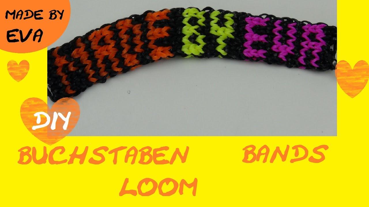 diy rainbow loom name bracelet schwer loom buchstaben. Black Bedroom Furniture Sets. Home Design Ideas