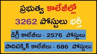 Telangana Government College Faculty Job Notification Details 2017