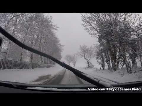 Dashcam Footage: Driving around snow covered Norfolk
