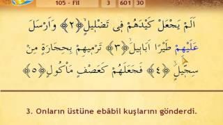 Kuran Sureleri - Fil  Suresi Mealli Ok takipli / İshak Danış
