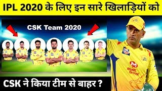 IPL 2020 : CSK Team can Released these 8 Players | IPL 2020 CSK Team | IPL 2020 CSK Released Players