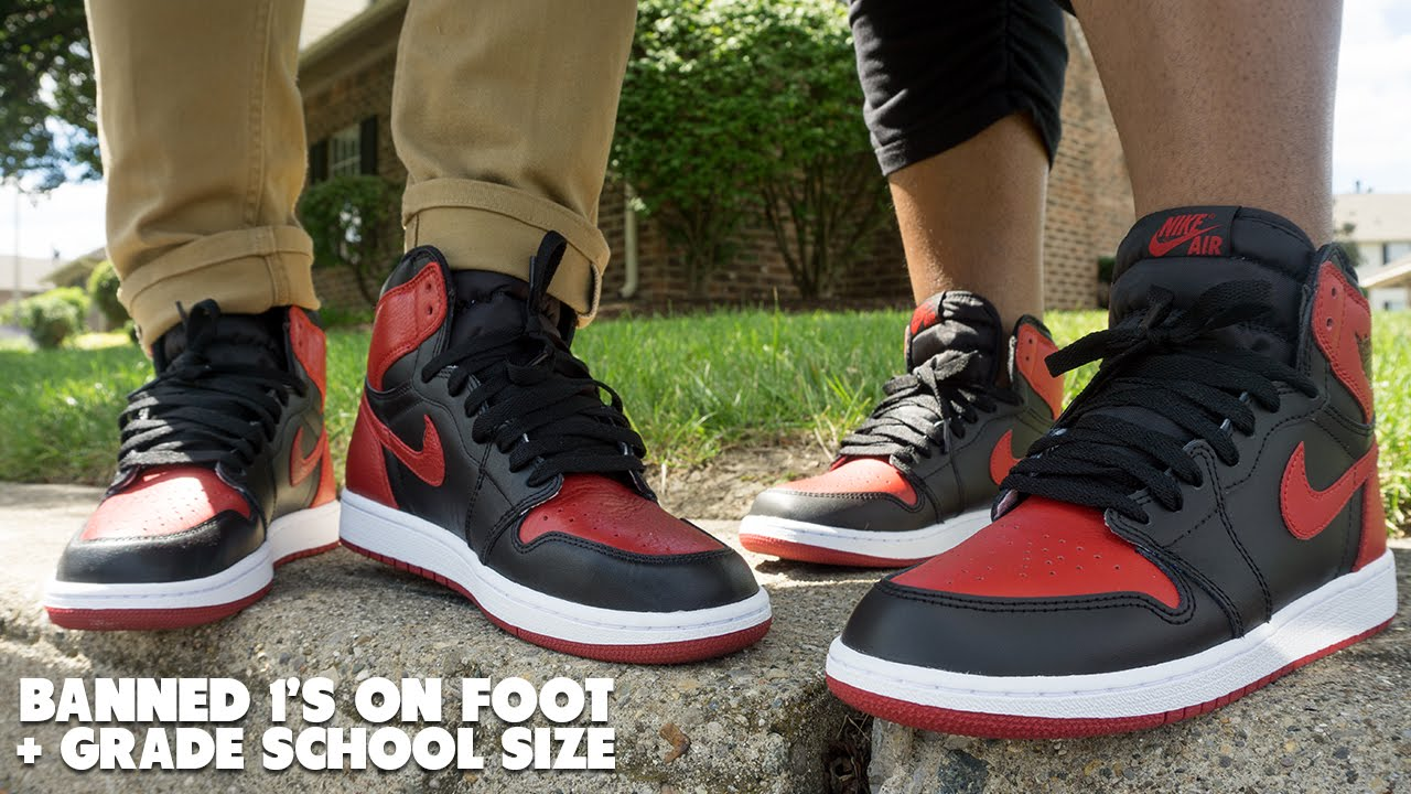 d607ce2e18271b 2016 Air Jordan Banned 1 s Review   On Foot + GS Size - YouTube