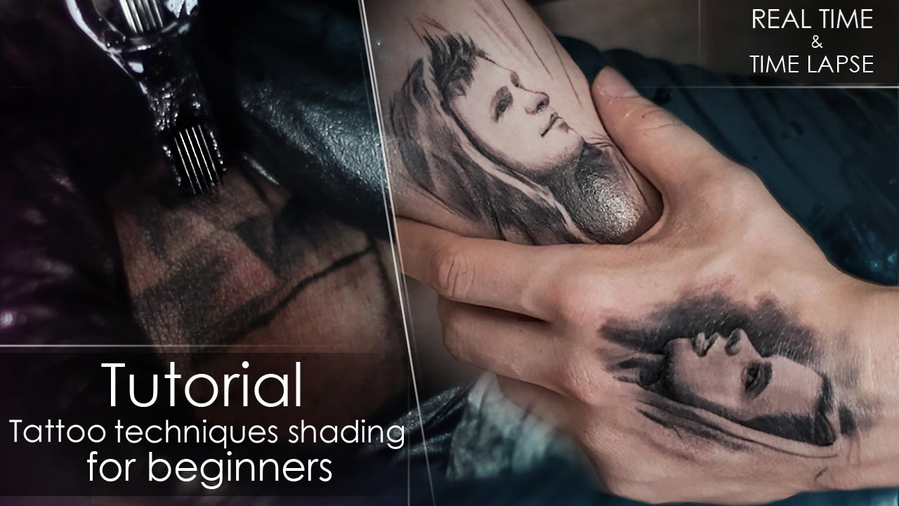 175538fd2 Tutorial - How to tattoo techniques shading - for beginners REAL TIME /  LAPSE ❤ Portrait on myself - YouTube