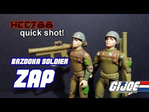 HCC788 quick shot! 1982 ZAP - Bazooka Soldier - Vintage G.I. Joe toy