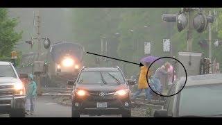 {HD} STUPID PEOPLE ALMOST GETTING KILLED BY AMTRAK P089! Railfanning Ashland 4-22-17!!!