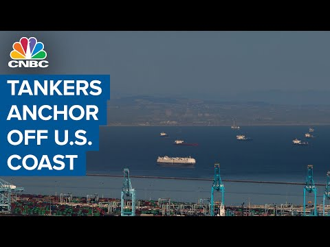 Oil tankers line up for miles off the coast of California as 'floating storage'