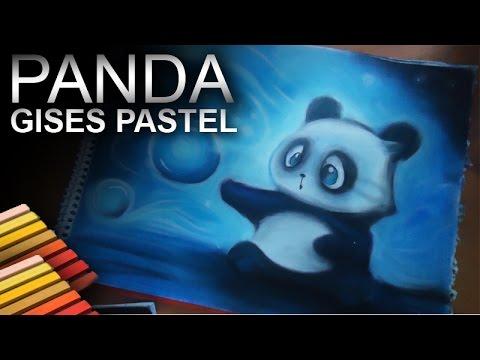 Dibujando Un Osito Panda Con Gises Pastel Youtube