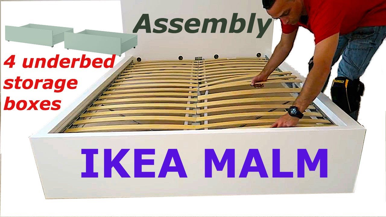 ikea malm bed frame assembly with 4 storage boxes white luröy youtube
