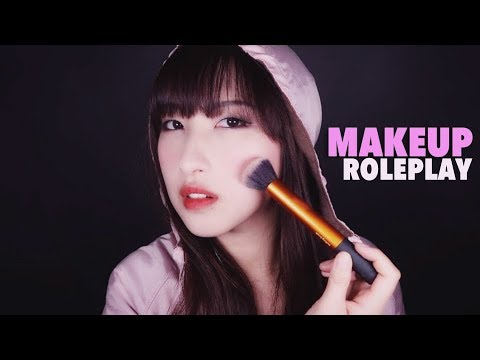 (Eng Sub)ASMR. Doing Your Makeup 💄Friend Roleplay 💓(Face Brushing, Hand Movements, Lotion Sounds)