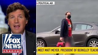 Tucker shows video of teachers union head dropping his own kid off at school