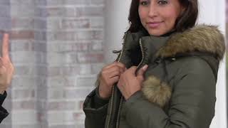 Susan Graver Quilted Puffer Coat with Faux Leather Trim and Pom Poms on QVC