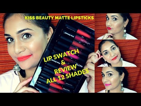 Rs. 120?? Kiss Beauty Matte Lip Gloss | Review & Swatches all 12 Shades | Best Liquid Lipstick??