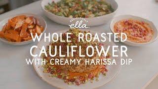 Whole Roasted Cauliflower with Creamy Harissa Dip | Deliciously Ella