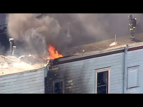 SF CASTRO DISTRICT FIRE: Raw helicopter video of 2-alarm fire on Sanchez Street