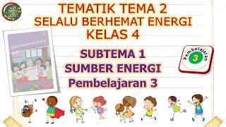 Kelas 4 Tematik : Tema 2 Subtema 1 Pembelajaran 3 (Selalu Berhemat Energi)