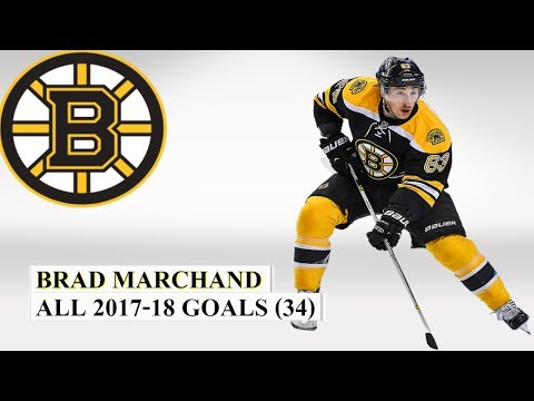 Brad Marchand (#63) All 34 Goals of the 2017-18 NHL Season