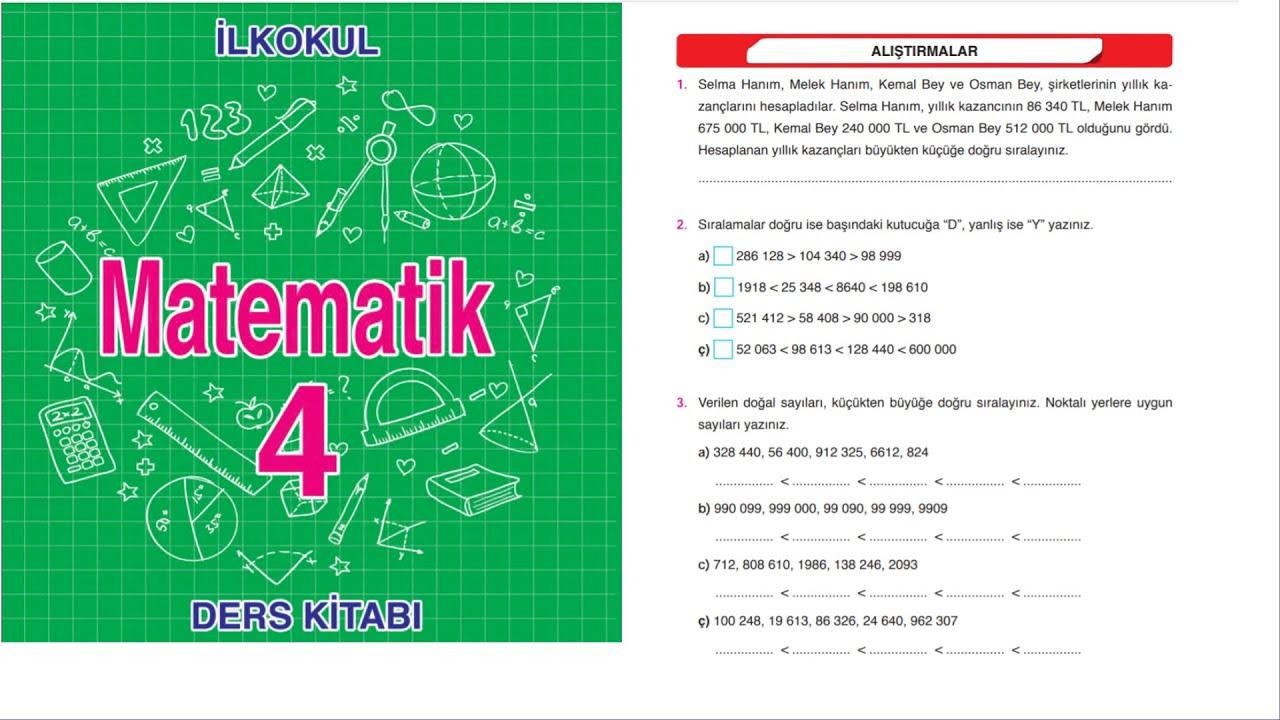 4. sınıf MEB Matematik Çalışma Kitabı sayfa 28-29-30 ve 31 çözümleri/1. Ünite değerlendirme soruları