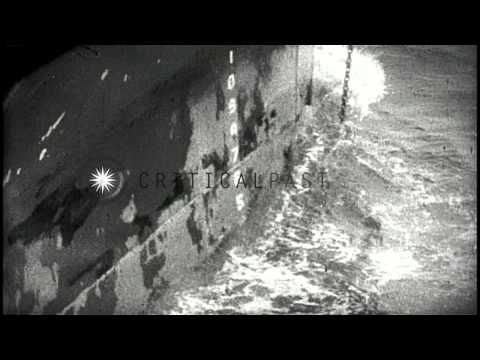 Damage to superstructure of US Navy ship USS Register (APD-9