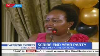 Journalists meet for annual Scribes End-Year Party, Waiguru \'shakes hands\' with them