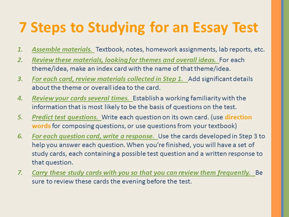 steps to studying for an essay test  7 steps to studying for an essay test