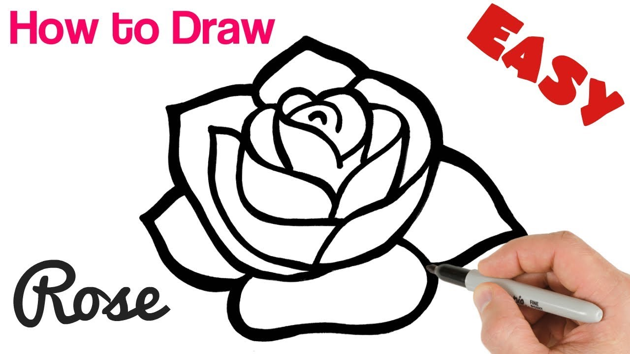 How To Draw A Rose Easy Art Tutorial For Beginners Youtube