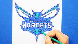 How to draw and color the Charlotte Hornets Logo - NBA Team Series