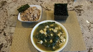 Tofu And Spinach Soup - With Rice And Sea Weed Wraps