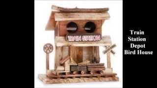 Bird House Train Station Depot Birdhouse Feeder Wood Deck Crafts Tree Yard Garden
