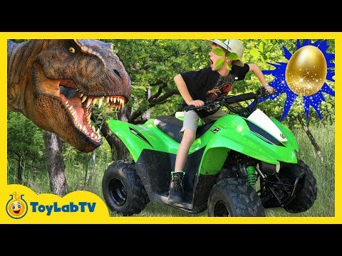 DINO EGG HUNT W/ RIDE ON CAR! Giant T-Rex Chase IRL & Surprise Dinosaur Toy Collection Fun Kids Toys