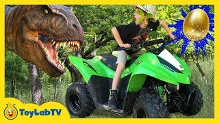 dino egg hunt w ride on car giant t rex chase irl surprise dinosaur toy collection fun kids toys