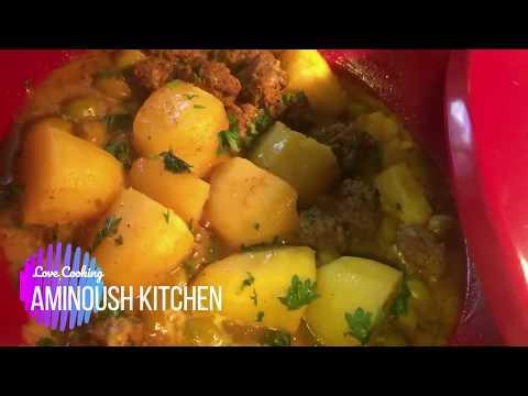 recette-simple-de-tajine-aux-olives-pommes-de-terre-et-kefta---aminoush-kitchen