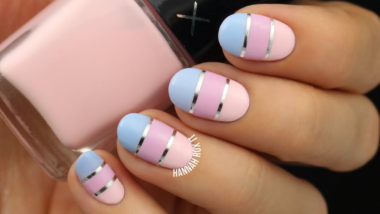 Pastel color block nail art youtube prinsesfo Images