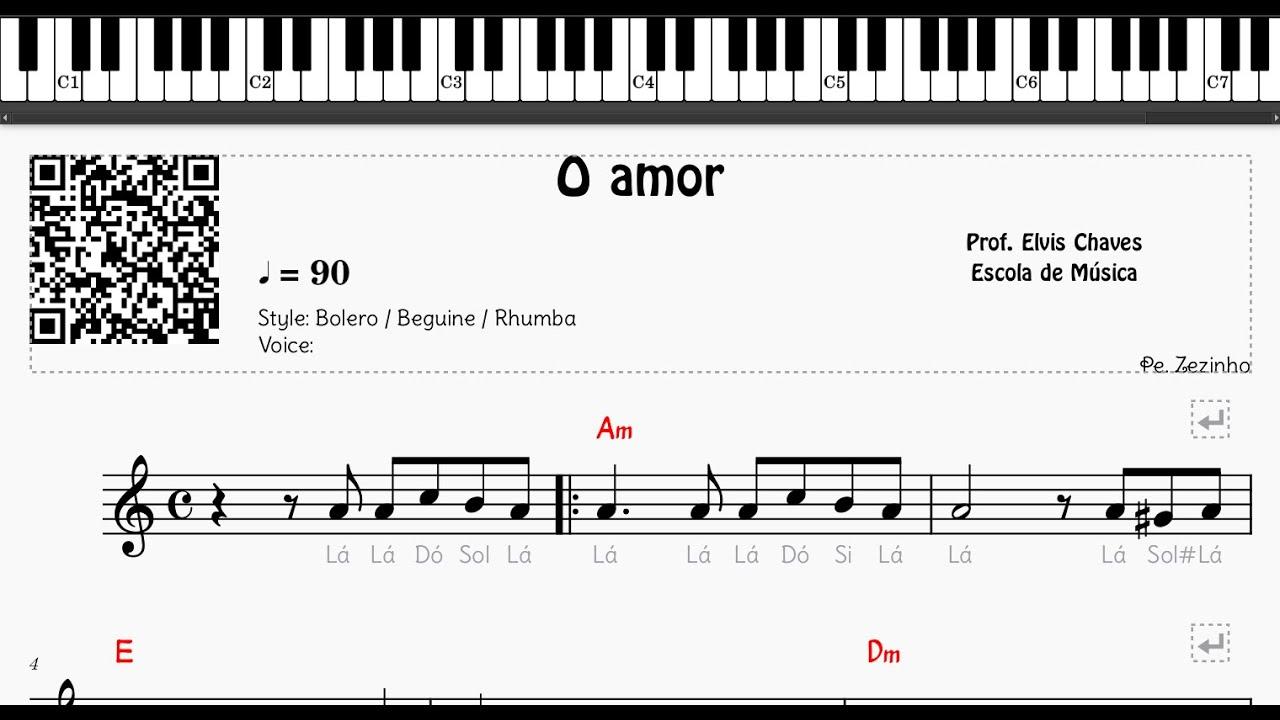 🎼 O amor - 128 - Pe.  Zezinho - Tutorial Partitura Fácil