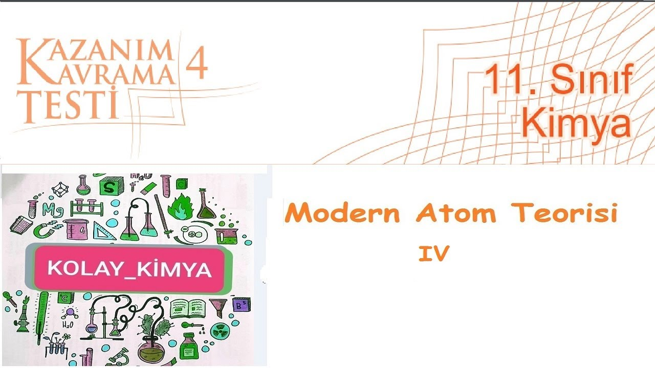 11  SINIF KİMYA Kazanım Kavrama 4, Modern Atom Teorisi