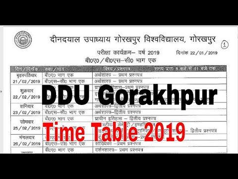 DDU Gorakhpur University Time Table 2019 Pdf Download DDU GKP time table datesheet 2019 examschedule