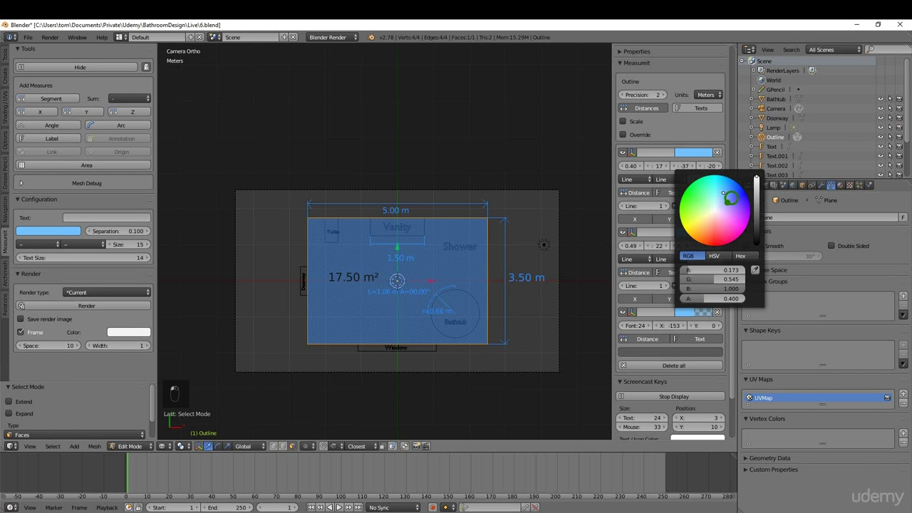 Architectural Design Tools in Blender - 3D Design made easy! : Rendering  out our 2D plan view